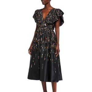 Monique Lhuillier Fluttered Midi Dress